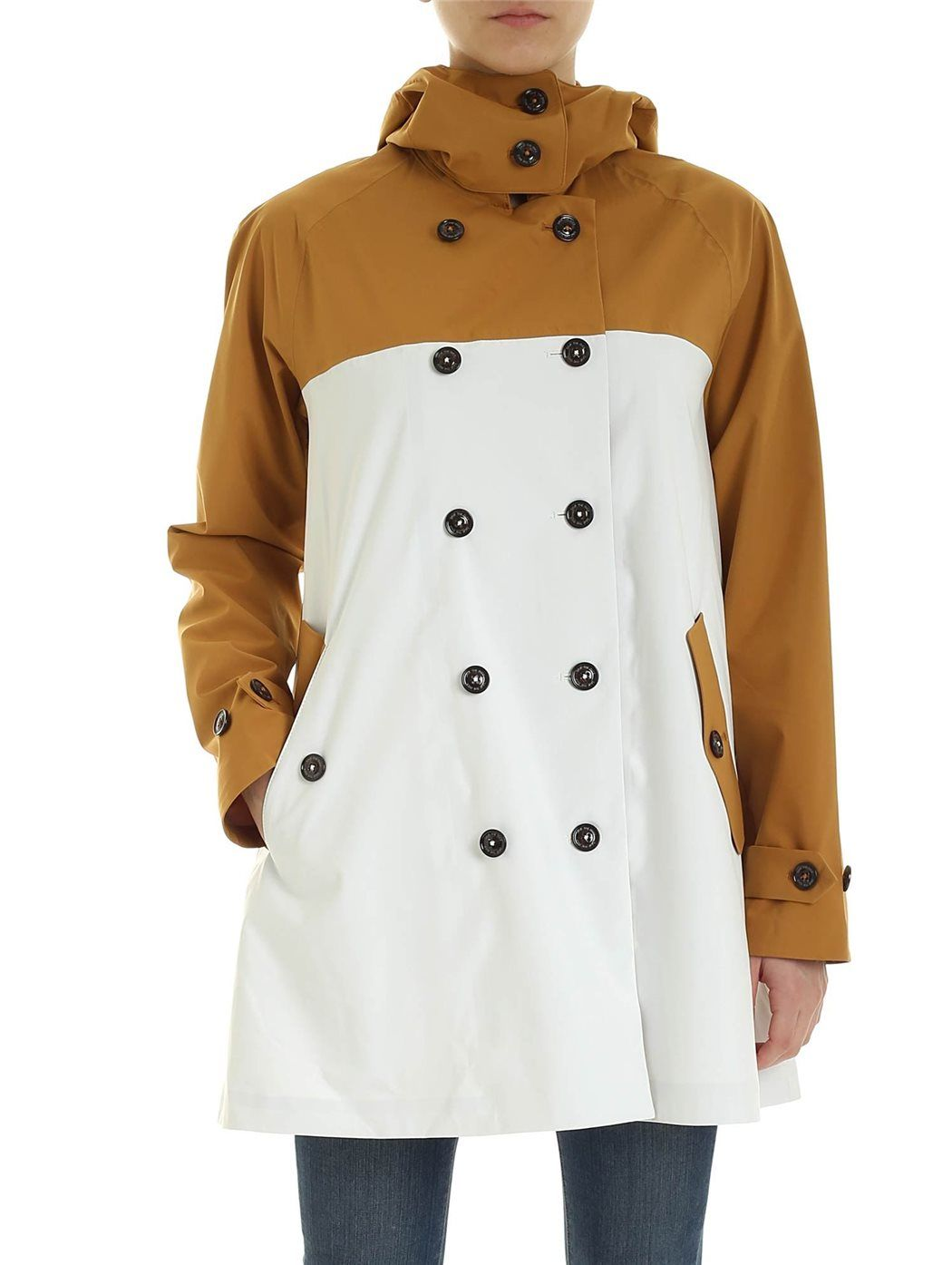 SAVE THE DUCK Cappotto doppiopetto beige e bianco