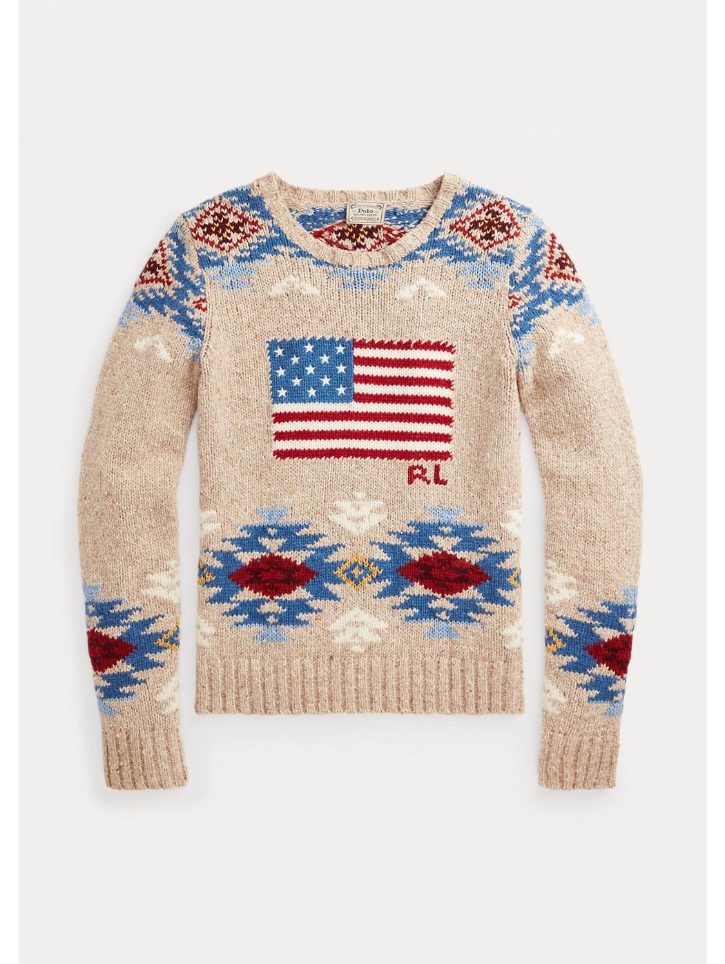 Maglia in misto lana con bandiera POLO RALPH LAUREN DONNA 211801531 001