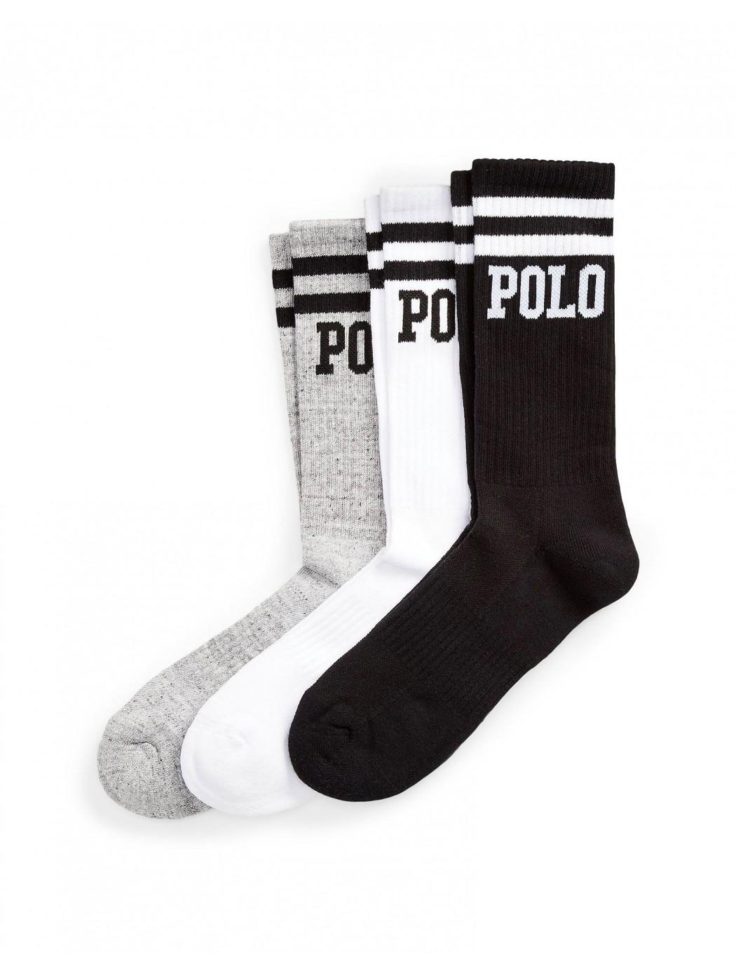 LOGO CREW SOCK 3-PACK POLO RALPH LAUREN UOMO 449799768 001