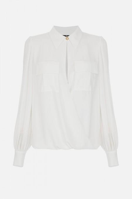 Camicia incrociata in georgette ELISABETTA  FRANCHI CA29711E211E2 360