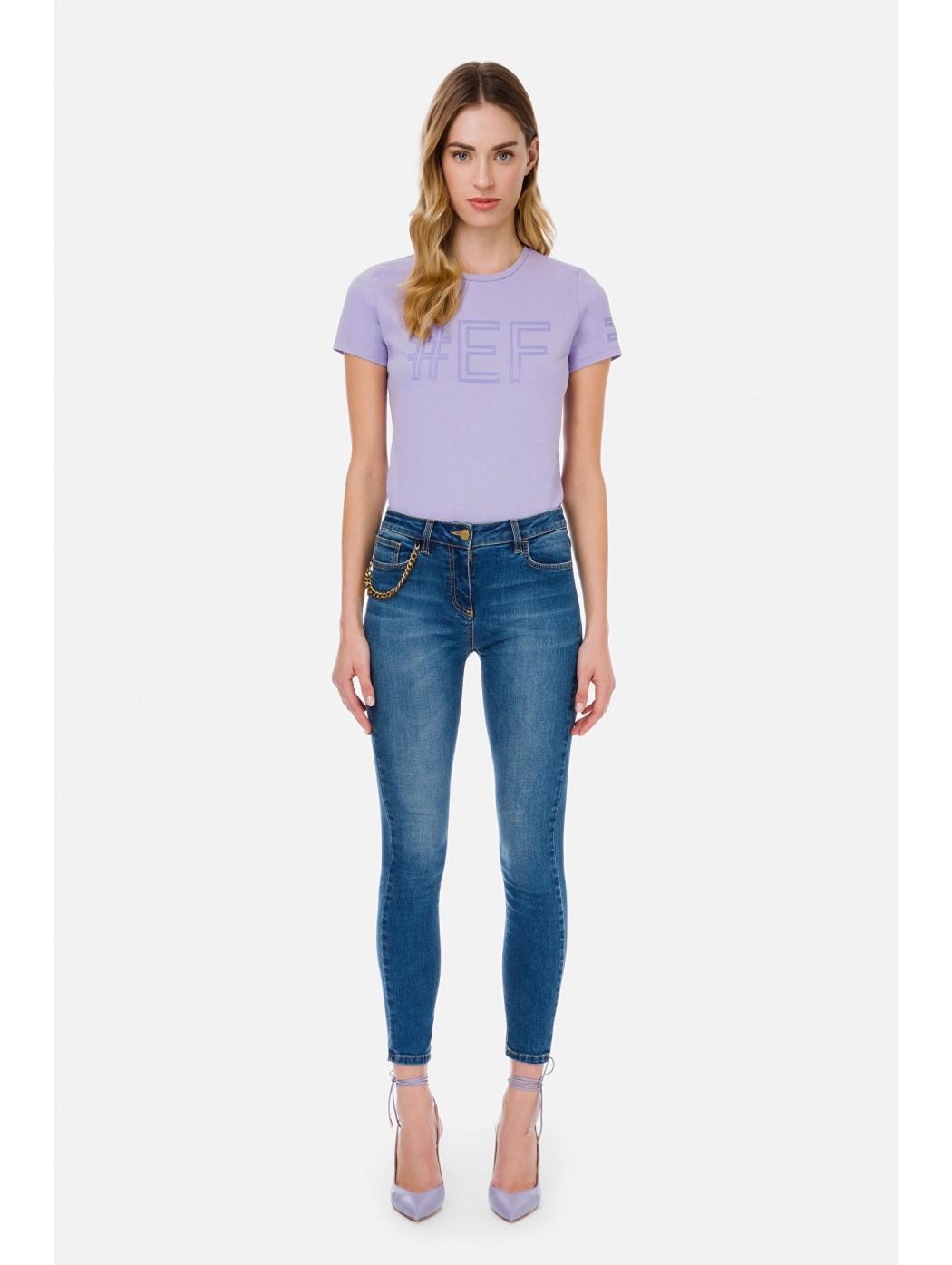 Jeans skinny con charm in oro vecchio ELISABETTA  FRANCHI PJ04S11E2 104