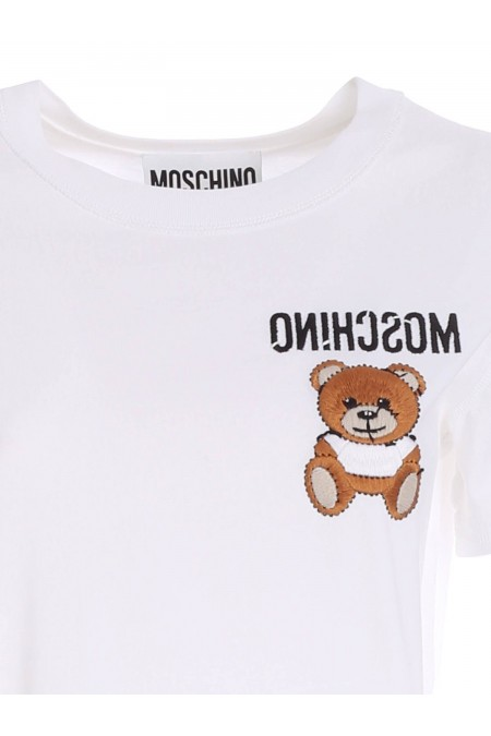 T-SHIRT BIANCA CON RICAMO TEDDY BEAR MOSCHINO 07030440 V1001