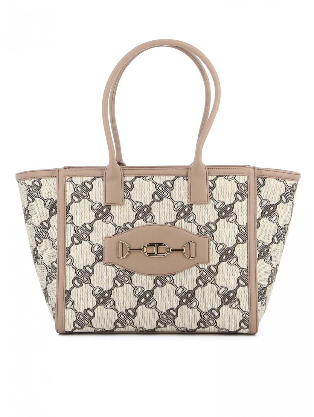 Maxi tote bag jaquard con stampa morsetto ELISABETTA  FRANCHI BS32A11E2 390