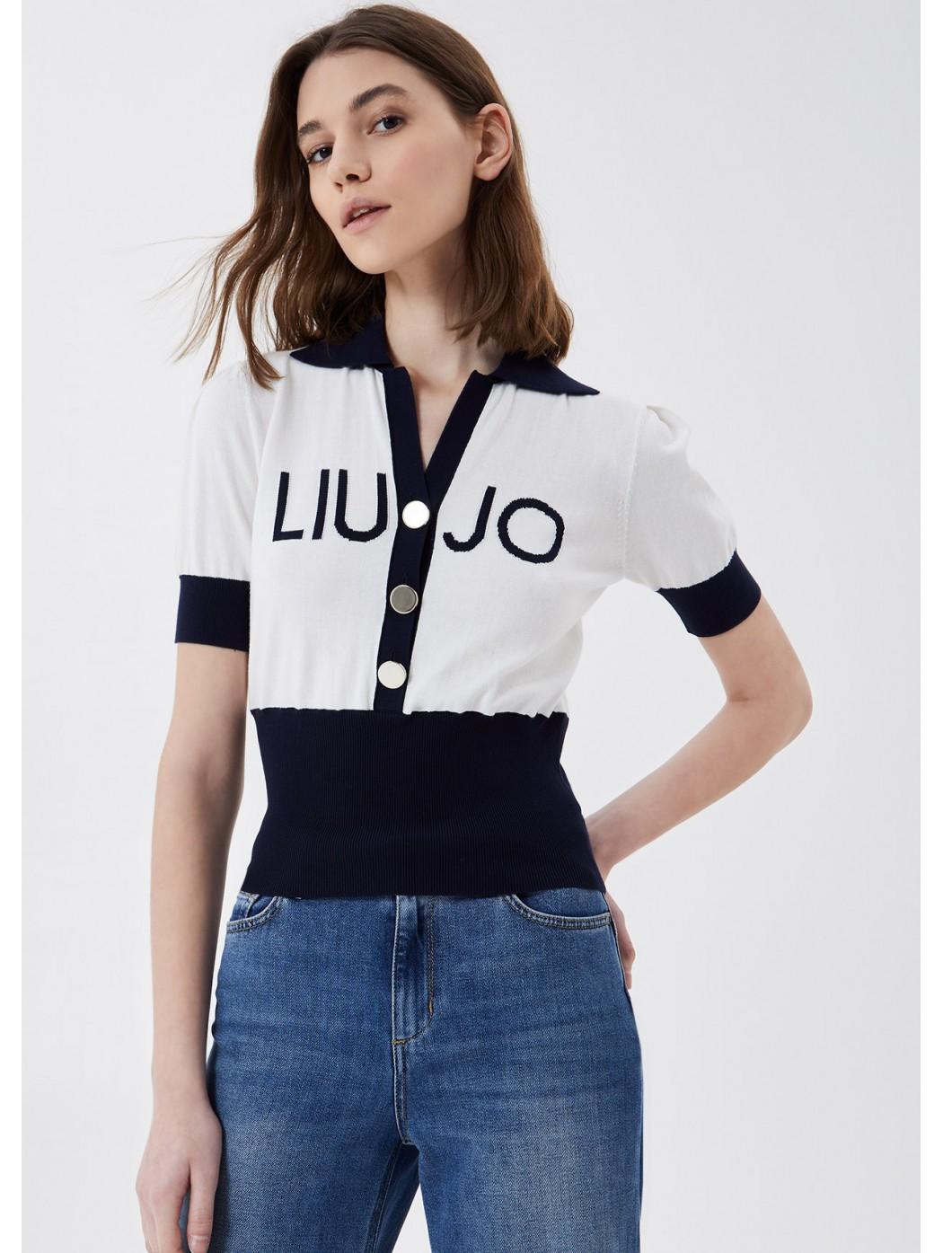 T-shirt in maglia con logo LIUJO JEANS CORE MA1068MA32L B3882