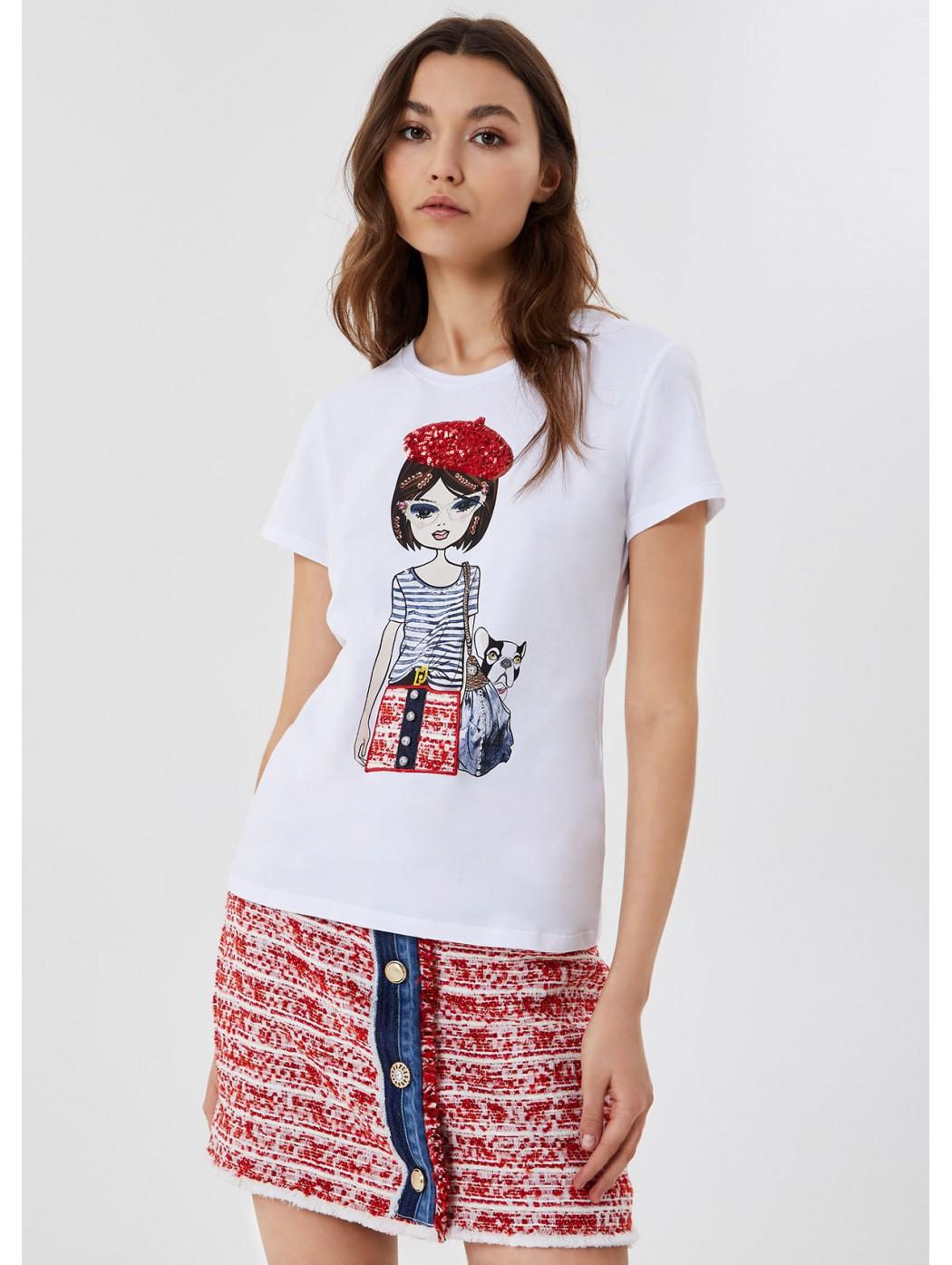 T-shirt con stampa e applicazioni LIUJO JEANS CORE WA1519J5003 11111