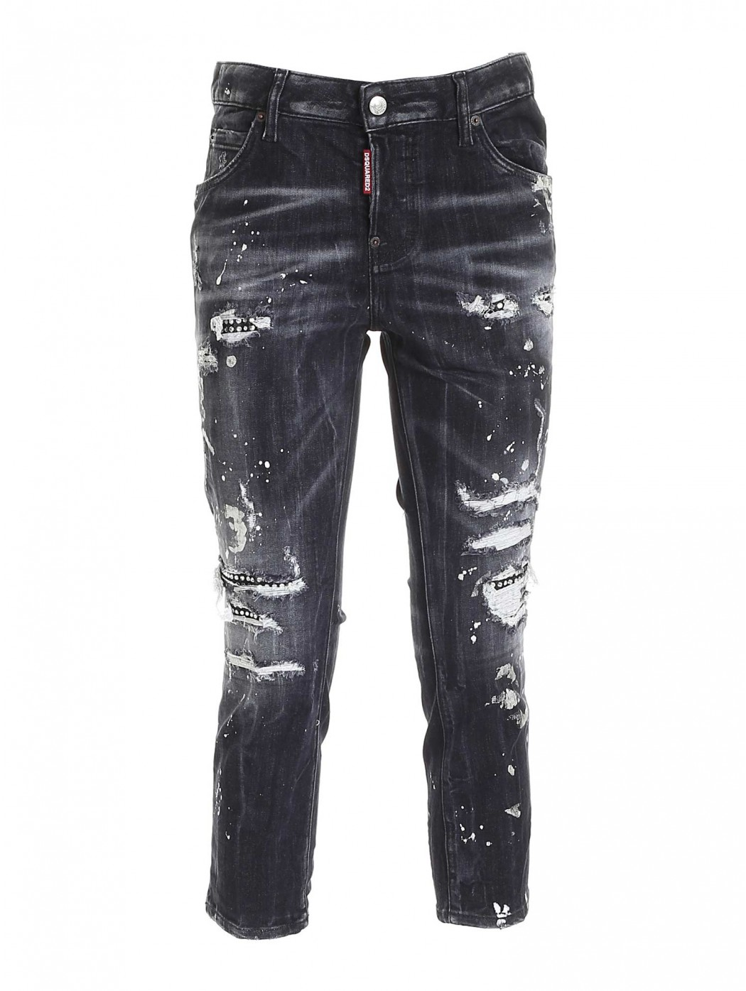 JEANS DESTROYED COLL CROPPED NERO DSQUARED2 S75LB0488S30503 900