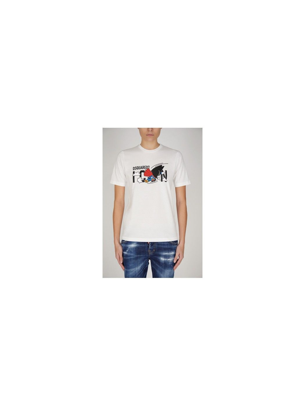 T-T-SHIRT BIANCA CON STAMPA LOGO DSQUARED2 S80GC0017S23009 100