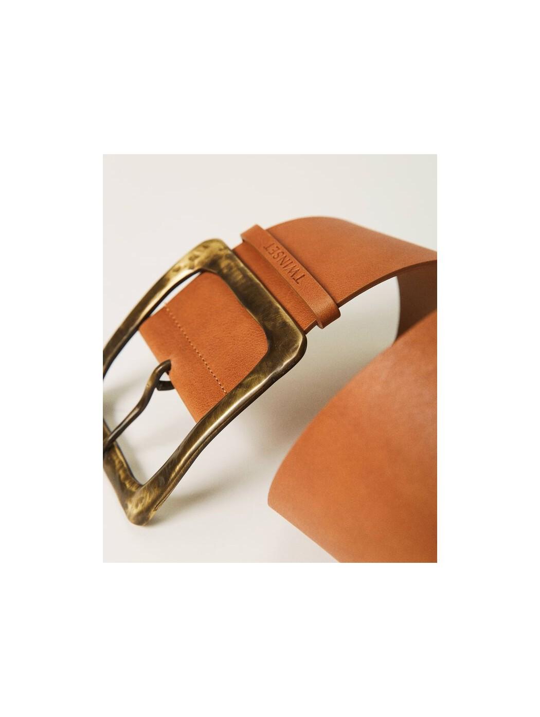 Cintura in pelle con maxi...