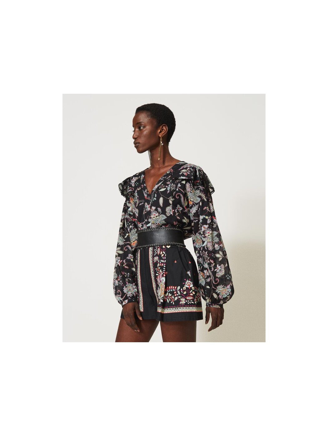 Blusa in mussola con stampa...