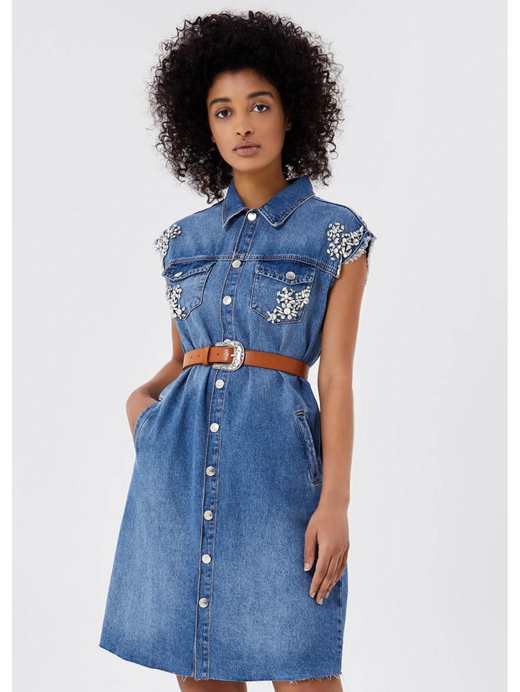 Vestito di jeans con cintura LIUJO JEANS CORE ua1059d4549 78104